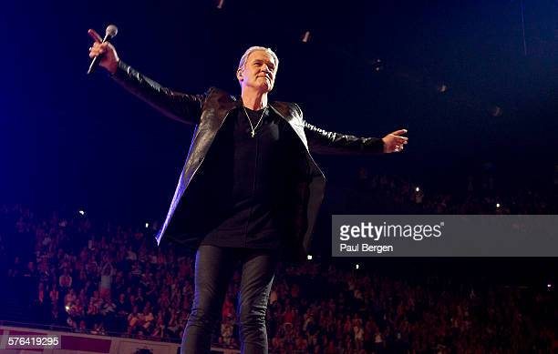Irish singer Johnny Logan performs on stage at Songfestival Sing Along in Ziggodome Amsterdam Netherlands 15 May 2015