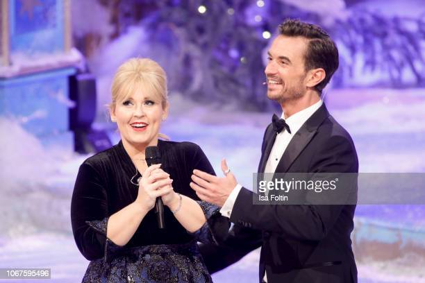 Irish singer Maite Kelly and German presenter Florian Silbereisen during the annual tv show 'Das Adventsfest der 100000 Lichter' on December 1 2018...