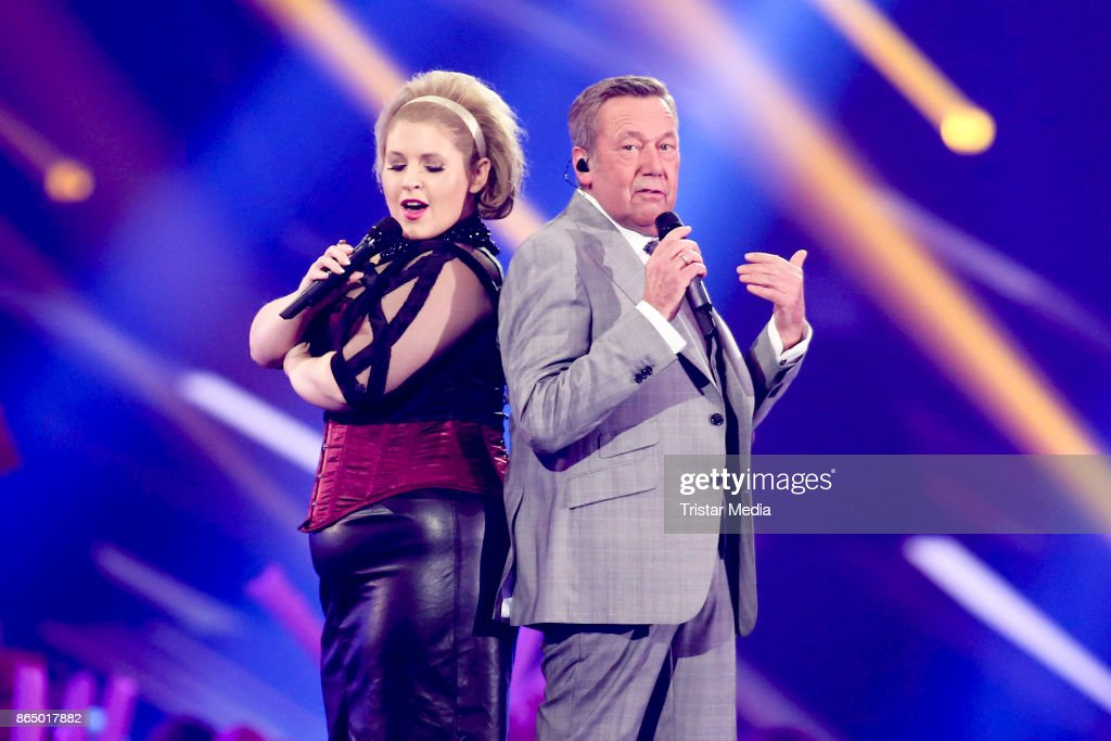 Irish singer Maite Kelly and Roland Kaiser perform at 'Schlagerboom - Das Internationale Schlagerfest' at Westfalenhalle on October 21, 2017 in Dortmund, Germany.