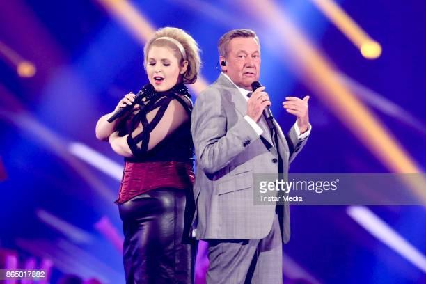 Irish singer Maite Kelly and Roland Kaiser perform at 'Schlagerboom - Das Internationale Schlagerfest' at Westfalenhalle on October 21, 2017 in...
