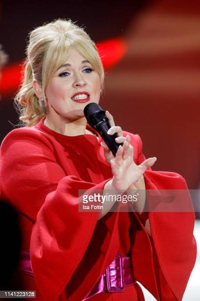 Irish singer Maite Kelly performs during the television show 'Willkommen bei Carmen Nebel' at Velodrom on May 4, 2019 in Berlin, Germany.