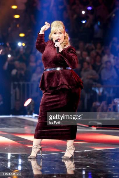 Irish singer Maite Kelly performs during the television show Schlagerchampions Das grosse Fest der Besten at Velodrom on January 11 2020 in Berlin...