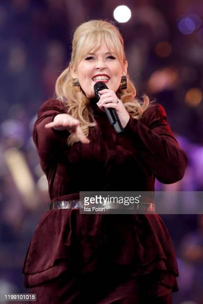 "Irish singer Maite Kelly performs during the television show ""Schlagerchampions - Das grosse Fest der Besten"" at Velodrom on January 11, 2020 in..."