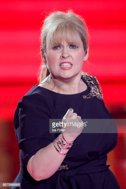 Irish singer Maite Kelly performs during the tv show 'Willkommen bei Carmen Nebel' on March 24, 2018 in Hof, Germany. The show will be aired on March...