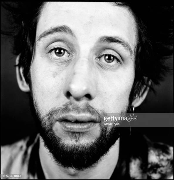 Irish singer Shane MacGowan of folk rock band The Pogues, in a record cover shoot at RAK recording studios in St Johns Wood London, 23rd February...