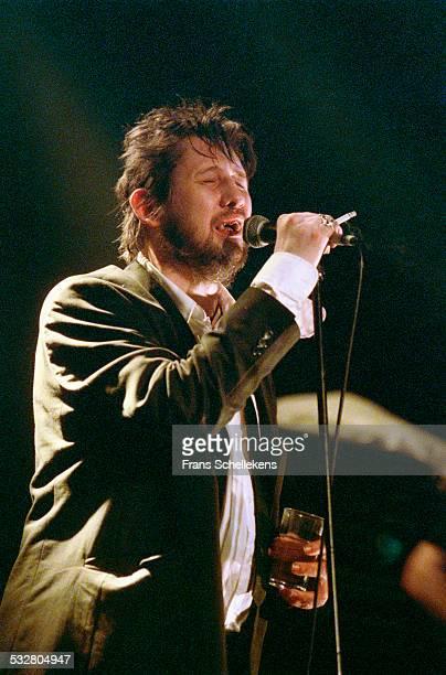 Irish singer Shane MacGowan, performs on April 18th 2002 at the Melkweg in Amsterdam, Netherlands.