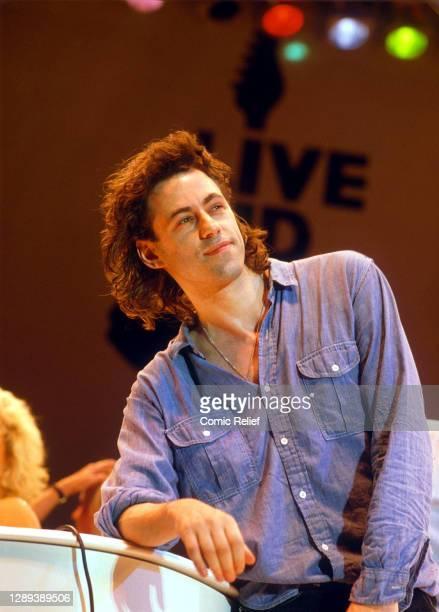 Irish Singer-songwriter Bob Geldoff on stage for Live Aid on July 13th, 1985 in Wembley Stadium, London.