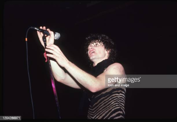 Irish singersongwriter musician businessman and philanthropist Bono born Paul David Hewson and lead singer of U2 performs onstage at Harpo's during...