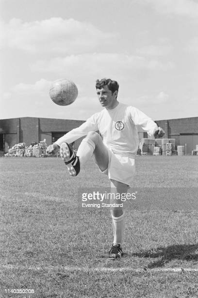 Irish soccer player Johnny Giles of Leeds United FC dribbling during training UK 29th July 1969