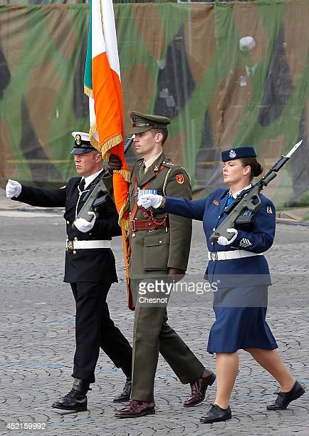 Irish soldiers parade on the Champs Elysees during the annual Bastille Day military parade on July 14 in Paris France Bastille Day or French National...
