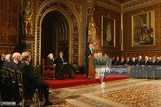 Irish Taioseach Bertie Ahern address representatives from both Houses of the British Parliament the Lords and Commons whilst British Prime Minister...