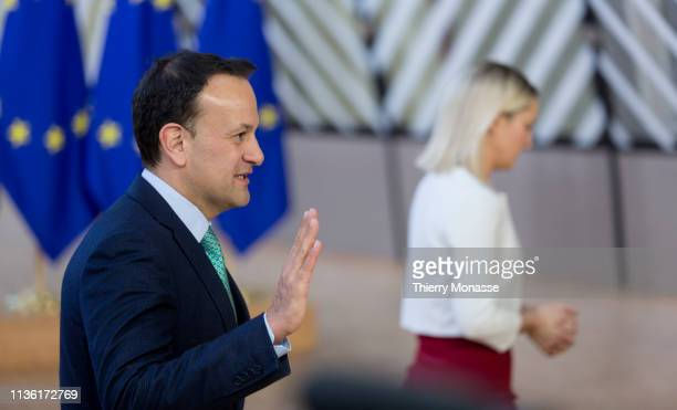 Irish Taoiseach Leo Varadkar and the Irish Minister of State for European Affairs Helen McEntee arrive ahead of a European Council meeting on Brexit...