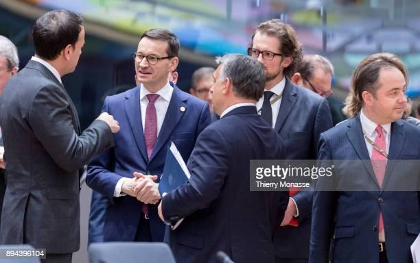 Irish Taoiseach Leo Varadkar Polish Prime Minister Mateusz Morawiecki and the Hungarian Prime Minister Viktor Mihaly Orban attend a 2 days EU summit...