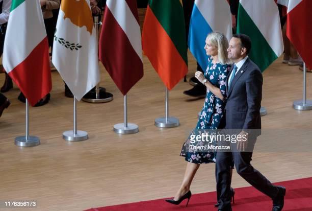 Irish Taoiseach Leo Varadkar speaks to media at a summit of European Union leaders on October 17 2019 in Brussels Belgium EU and British negotiators...