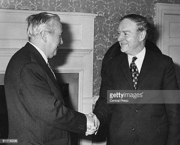 Irish Taoiseach Liam Cosgrave at 10 Downing Street for talks with British Prime Minister Harold Wilson 5th April 1974