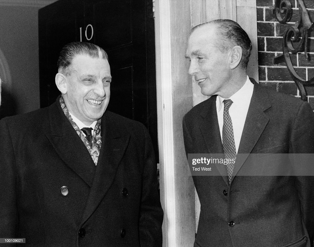 Irish Taoiseach Sean Lemass (1899 - 1971, left) with British Prime Minister Alec Douglas-Home (1903 - 1995) outside 10 Downing Street, London, 18th March 1964.