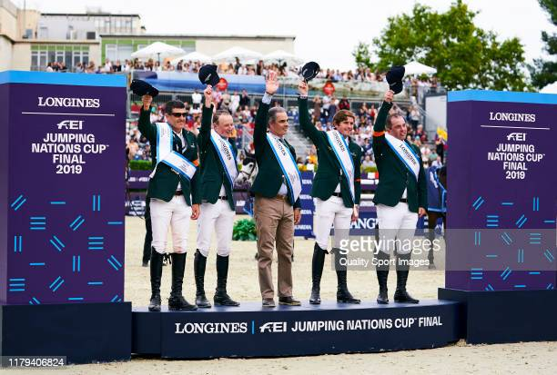 Irish team celebrates the victory on the podium at the end of Day 4 of Longines FEI Jumping Nations Cup Final at Reial Club de Polo de Barcelona on...