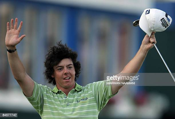 Irish teenager Rory McIlroy gestures after winning the Dubai Desert Classic golf tournament on February 1 2009 McIlroy won the 25 milliondollar...