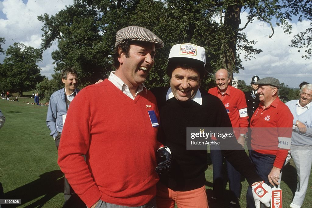 Irish television and radio presenter, Terry Wogan, with the Liverpudlian comedian, Jimmy Tarbuck, during the Bob Hope British Classic golf tournament at Moor Park golf course.