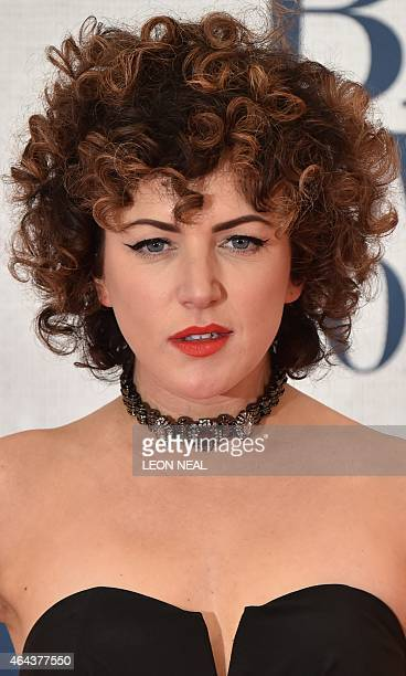 Irish television presenter Annie Mac poses on the red carpet to attend the BRIT Awards 2015 in London on February 25 2015 PERFORMER