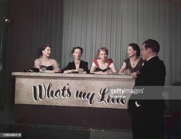 Irish television presenter Eamonn Andrews stands on right with panellists Jill Craigie , Marghanita Laski , Joy Adamson and Elizabeth Allan on the...