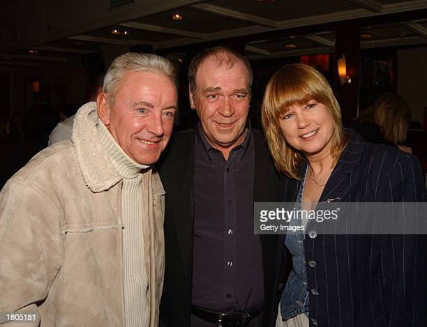Irish Trad singer Finbar Fury poses with actor/singer Don Baker and singer/TV presenter Maxi at the launch of his new album 'Chasing Moonlight' at...