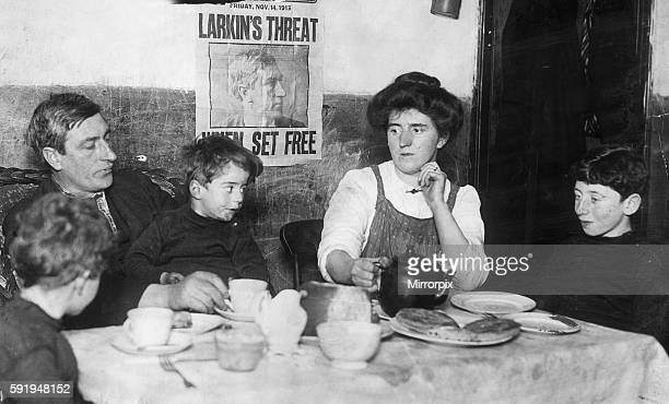 Irish trade Union leader and social activist James Larkin pictured in his office at liberty hall in Dublin with his typist and secretary Mrs McKeon...