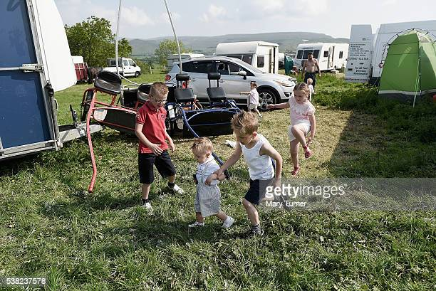 Irish traveller children play together at the Appleby Horse Fair on June 5 2016 in Appleby England The annual horse trading fair has been attended by...