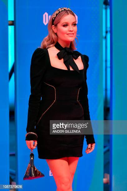 Irish TV presenter Laura Whitmore poses on the red carpet ahead of the MTV Europe Music Awards at the Bizkaia Arena in the northern Spanish city of...