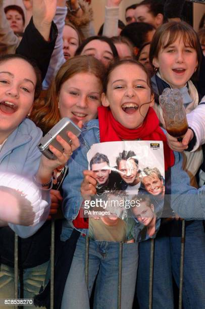 Irish Westlife fans, before meeting the band at HMV Grafton Street, Dublin, for the launch of their new greatest hits album, Unbreakable.