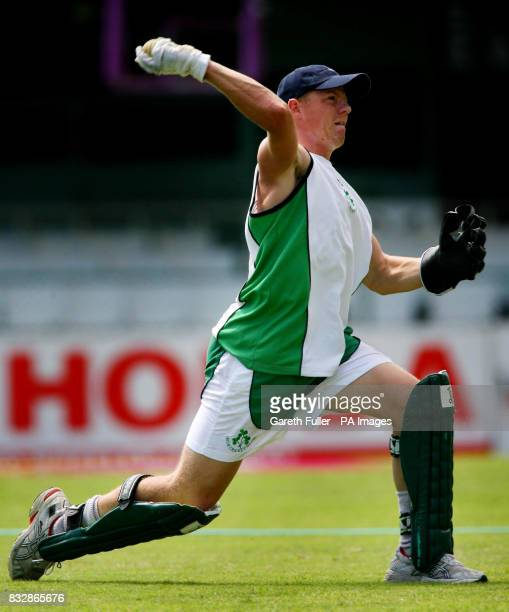 Irish wicketkeeper Niall O'Brien in action during a nets session at Kensington Cricket Club Kingston Jamaica