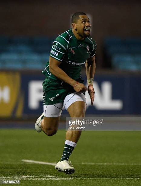 Irish wing Joe Cokanasiga in action during the AngloWelsh Cup match between Cardiff Blues and London Irish at Cardiff Arms Park on February 2 2018 in...