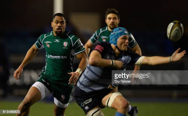 Irish wing Joe Cokanasiga prepares to tackle Blues player Olly Robinson during the AngloWelsh Cup match between Cardiff Blues and London Irish at...