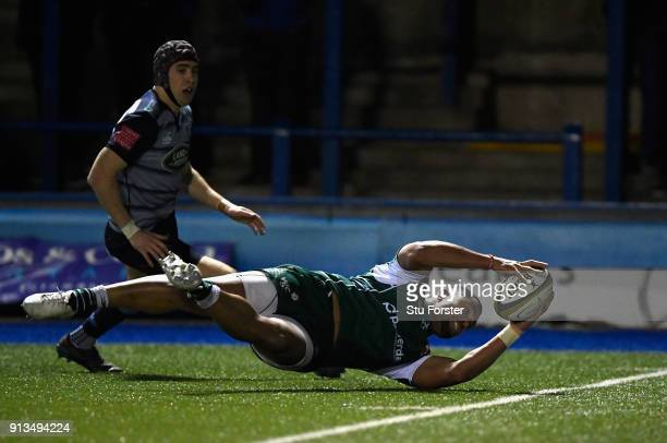 Irish wing Joe Cokanasiga scores the final try during the AngloWelsh Cup match between Cardiff Blues and London Irish at Cardiff Arms Park on...