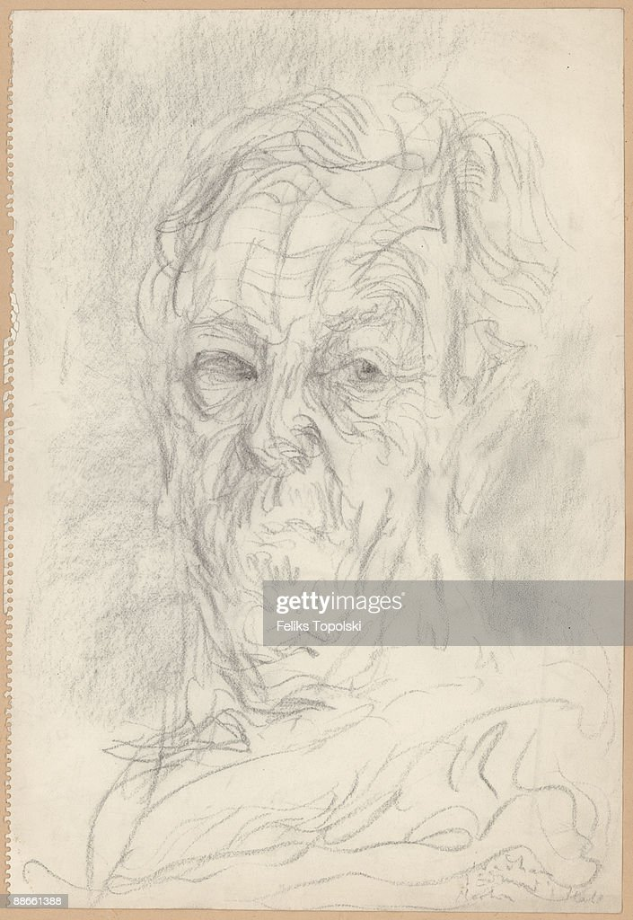 Irish writer C. S. Lewis (1898 - 1963), circa 1960. A sketch by Polish-born British expressionist painter Feliks Topolski.