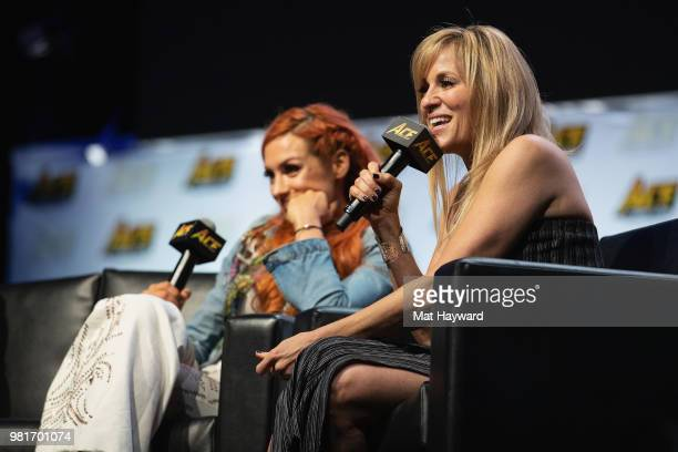 Irish WWE Professional Wrestler Becky Lynch and SpanishAmerican retired ring announcer Lilian Garcia speak on stage during ACE Comic Con on June 22...