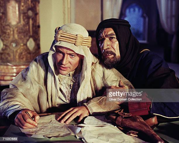 Irish-born actor Peter O'Toole and Mexican-born actor Anthony Quinn as Auda abu Tayi in a still from director David Lean's film, 'Lawrence of...