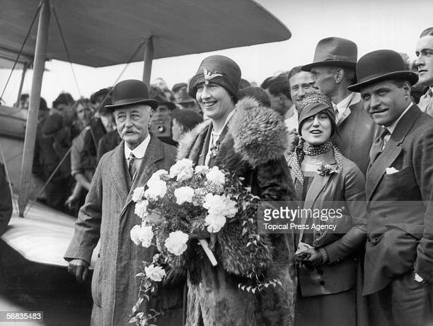 Irishborn aviatrix Lady Sophie Mary Heath arrives at Croydon airfield becoming the first woman to fly solo from Capetown to Europe 17th May 1928 With...