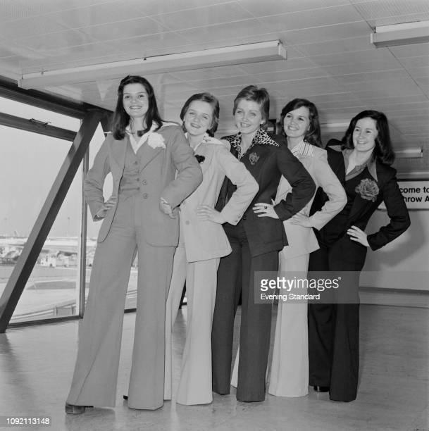 Irish/British girl group The Nolan Sisters at heathrow Airport, London, UK, 23rd May 1975.