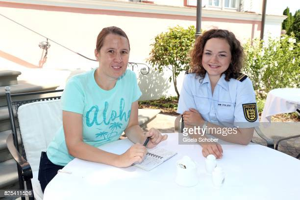Iris-Vanessa Voltmann and Wendy Guentensperger during the 'WaPo Bodensee' photo call at Schloss Freudental on August 1, 2017 in Allensbach-Freudental...