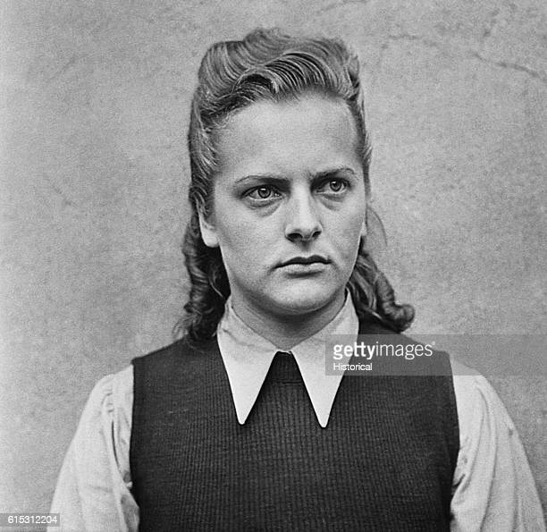Irma Grese, a German guard at Bergen-Belsen concentration camp, was noted for her cruelty to prisoners. She underwent a trial for war crimes in 1945.
