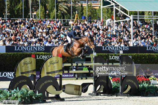 Irma Karlsson of Sweden riding Ida van de Bisschop during Longines FEI Jumping Nations Cup Final Competition on October 7 2018 in Barcelona Spain
