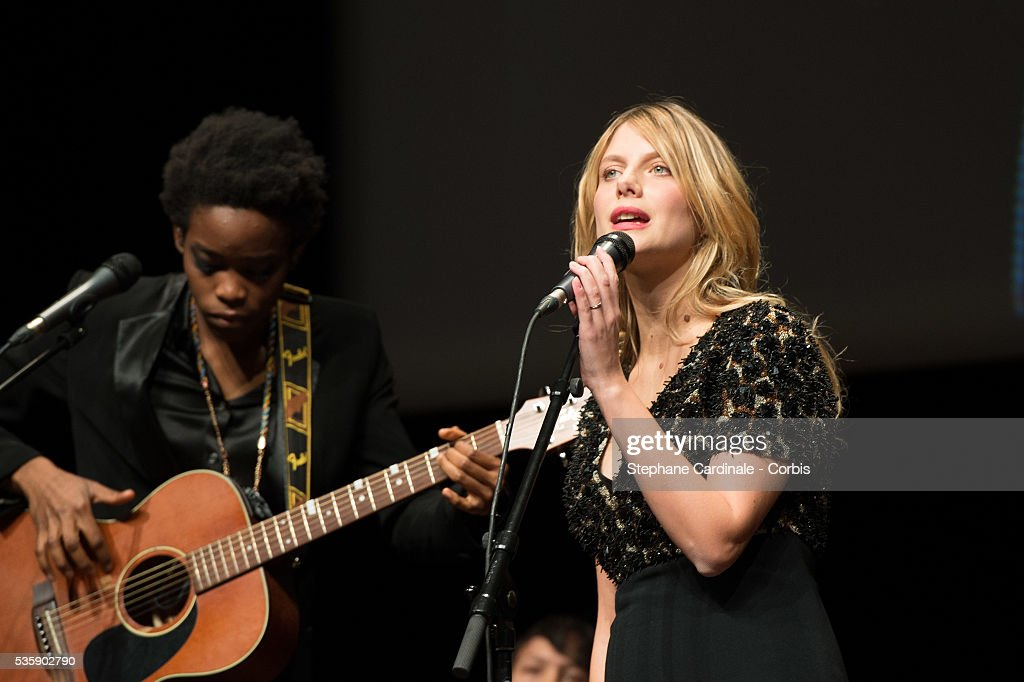 Irma Pany and Melanie Laurent perform on stage during the Tribute to Quentin Tarantino, during the 5th Lumiere Film Festival, in Lyon.