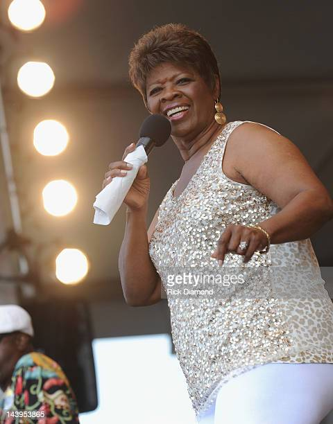 Irma Thomas performs during the 2012 New Orleans Jazz Heritage Festival Day 6 at the Fair Grounds Race Course on May 5 2012 in New Orleans Louisiana