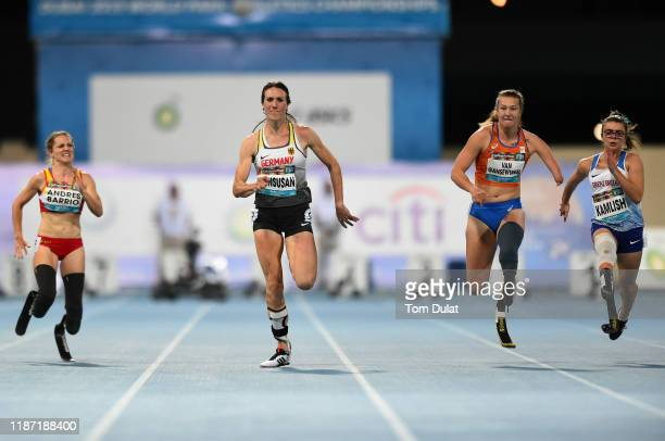 Irmgard Bensusan of Germany on her way to winning the Women's 100m T64 final race on Day Six of the IPC World Para Athletics Championships 2019 Dubai...
