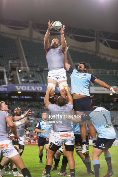 Irne Herbst of the Kings jumps at the lineout against Will Skelton of the Waratahs during the round nine Super Rugby match between the Waratahs and...