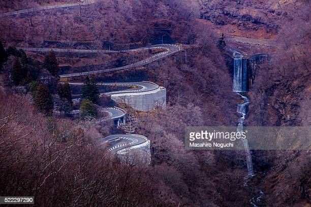 irohazaka winding road and houtou falls, nikko, in winter - nikko city stock pictures, royalty-free photos & images