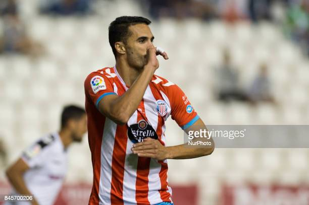 Irome celebrates a goal during the La Liga second league match between Albacete Balompié and Club deportivo Lugo at Carlos Belmonte stadium on...