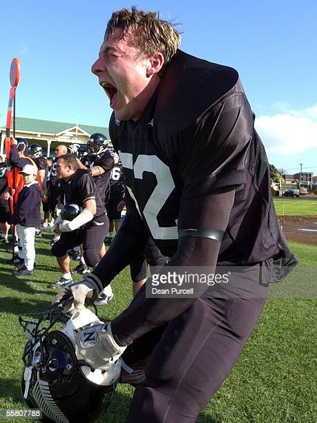 Iron Black Linebacker Sean Donoghue gets himself motivated before going on to the field during the American Football match between the New Zealand...