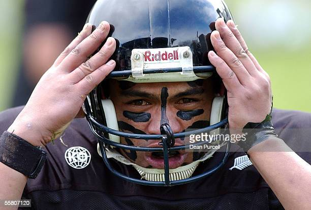 Iron Black Runningback Thomas Noanoa warms up before the American Football match between the New Zealand Iron Blacks and Australia played at Eden...